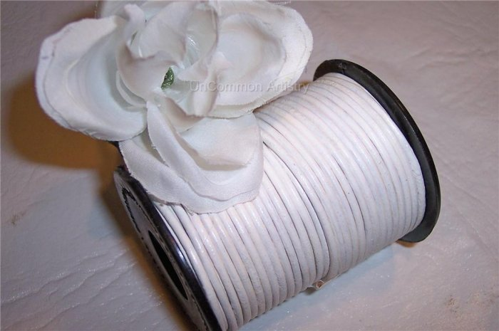 LEATHER CORD 2mm WHITE 5 yards