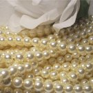 GLASS PEARLS Czech 6mm Round VANILLA CREAM q.100