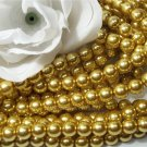GLASS PEARLS Czech 6mm Round GOLD q.100