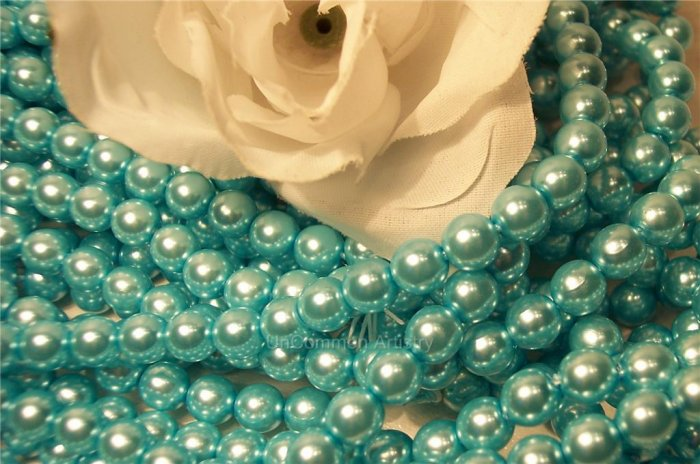 GLASS PEARLS Czech 6mm Round AQUA q.100