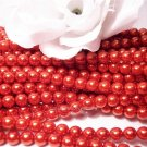 GLASS PEARLS Czech 6mm Round TANGERINE q.100