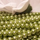 GLASS PEARLS Czech 6mm Round OLIVE q.100