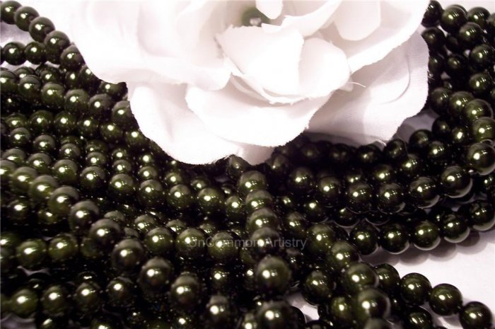 GLASS PEARLS Czech 6mm Round DARK OLIVE q.100