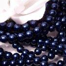 GLASS PEARLS Czech 6mm Round ROYAL BLUE q.100