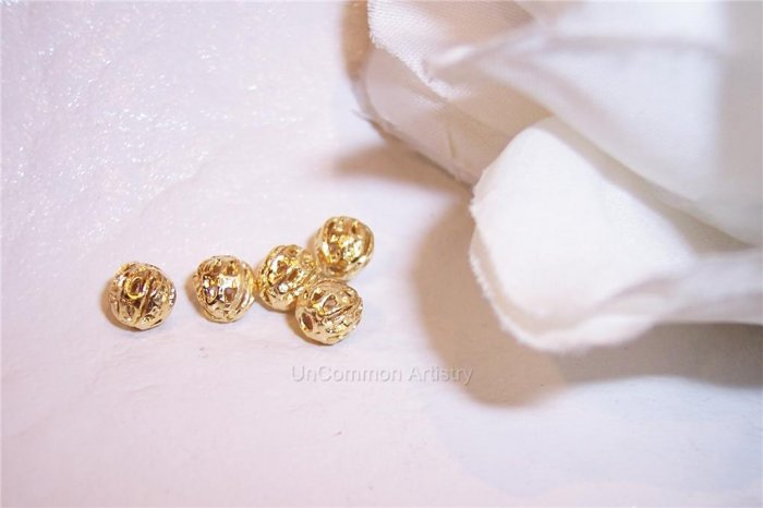7mm FILIGREE Round Beads GOLD PLATED q.10