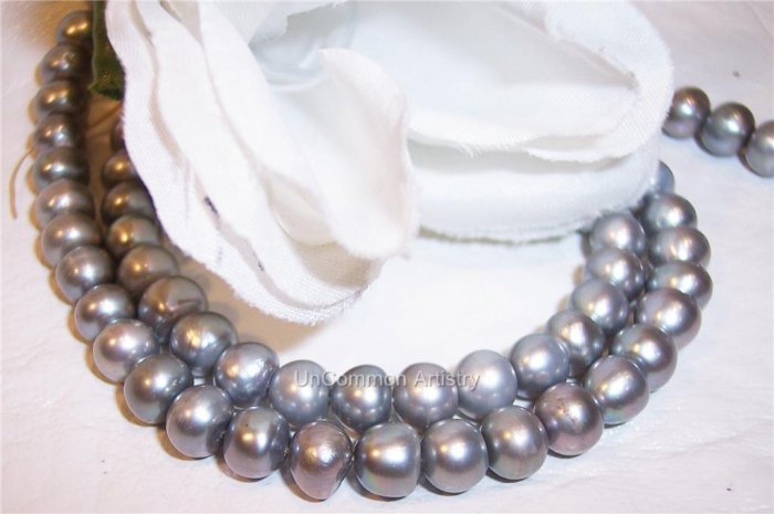 "Fresh Water SILVER BUTTON Pearls 6-8mm 16"" Strand"