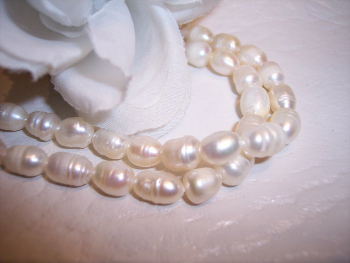 "Fresh Water RICE PEARLS 7-9mm CREAM 16"" Strand"