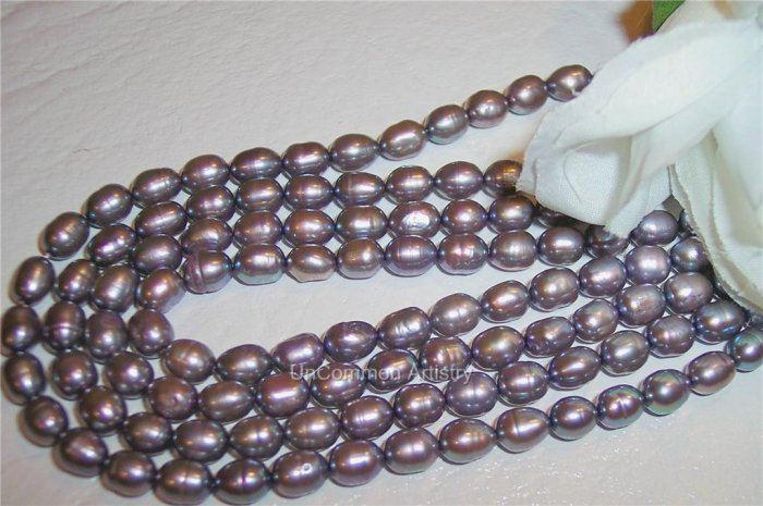 "Fresh Water RICE PEARLS 7-8mm LILAC16"" Strand"