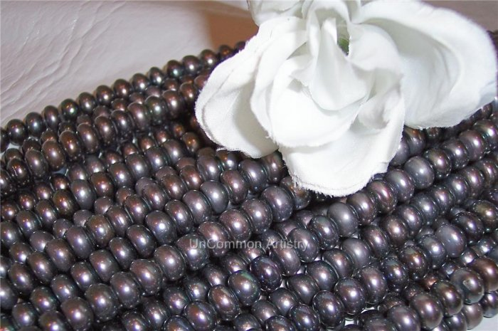 "Fresh Water BUTTON PEARLS 5x7mm BLACK PEACOCK 15"" Str."