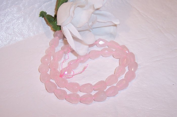 "ROSE QUARTZ Faceted  TEARDROP Shape Beads 16"" Strand"
