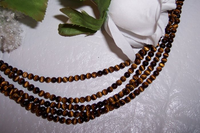 "ROARING!! TIGER EYE 4mm ROUND Beads 16"" Strand"
