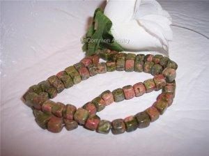 """UNAKITE 6mm CUBE Beads 15"""" Strand"""