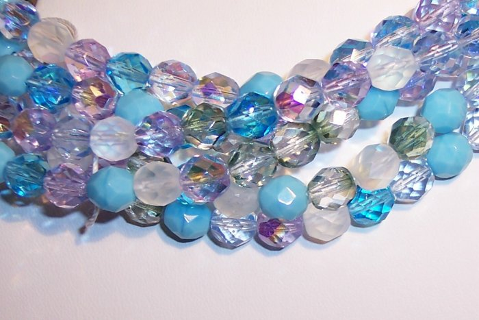 SERENITY MIX Czech Fire Polish  6mm Beads 50