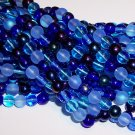 BLUE TONES MIX Czech DRUK  6mm Beads q.50