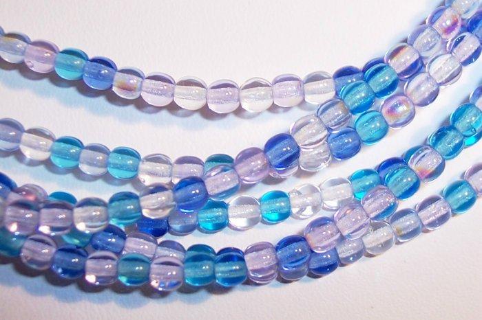 CARIBBEAN BLUE MIX Czech  4mm DRUK Beads 100