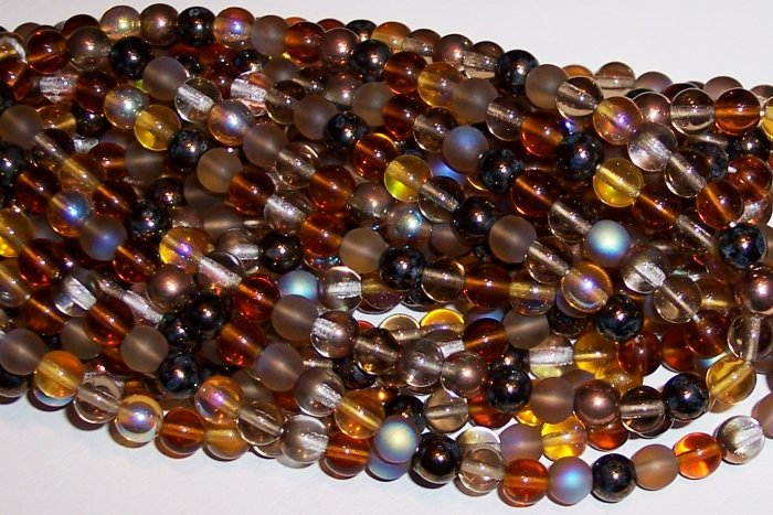 WHEATBERRY MIX Czech  4mm DRUK Beads 100