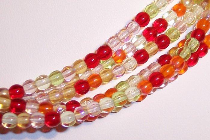 TANGO MIX Czech  6mm DRUK Beads 50