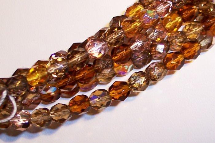 WHEATBERRY MIX Czech Fire Polish  6mm Beads 50