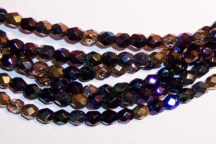 HEAVY METALS MIX Czech Fire Polish  4mm Beads 50