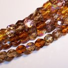 WHEATBERRY MIX Czech Fire Polish  6mm Beads 50