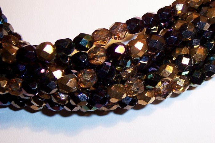 HEAVY METALS MIX Czech Fire Polish  6mm Beads 50