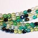EVERGREEN MIX Czech Fire Polish  4mm Beads 50