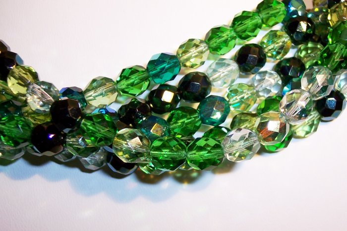 EVERGREEN MIX Czech Fire Polish  8mm Beads 50