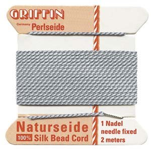 GRIFFIN Silk Bead Cord & Needle GRAY Size 2