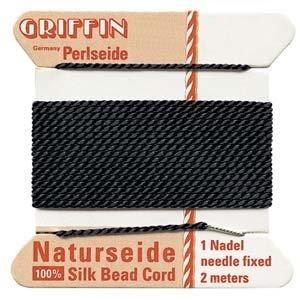 GRIFFIN Silk Bead Cord & Needle BLACK Size 2