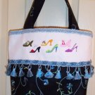 NEW EMBROIDERED FASHION SHOE PARADE TOTE / HANDBAG~REDUCED