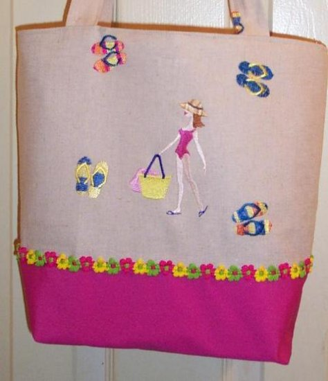 NEW EMBROIDERED BEACH BABE TOTE / HANDBAG ~ PINK TRIM