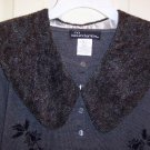 GRAY WOOLY FAUX FUR COLLAR ~LONG~ ONE SIZE FITS ALL