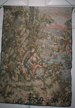 LIGHT GREEN VICTORIAN TAPESTRY WALL HANGING ~ NEW