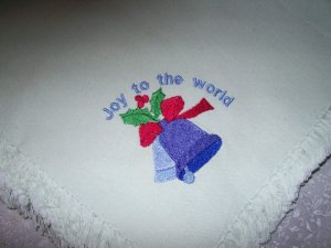 4 CLOTH MACHINE EMBROIDERED NAPKINS~JOY TO THE WORLD
