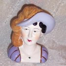 PURPLE HAT LADY HEAD FIGURINE~~~NEW~~~