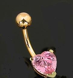 GOLD PLATED PINK HEART NAVEL