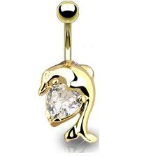 GOLD PLATED DOLPHIN w/CLEAR GEM