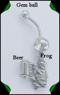 FROG w/BEER STEIN NAVEL RING