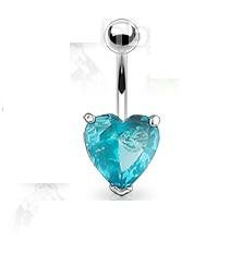 LARGE AQUA HEART NAVEL RING