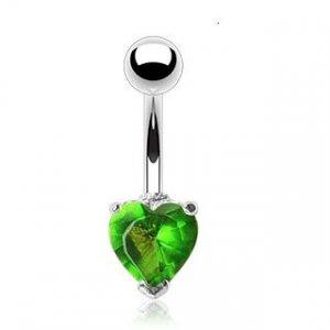 Navel Ring w/ Prongset Green Heart CZ