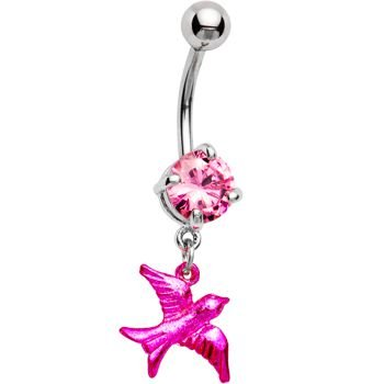 Pink Gem Metallic Bird Belly Ring