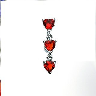 Top Down Heart Prong Setting Red CZ Navel