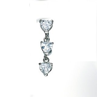 Top Down Heart Prong Setting Clear CZ Navel
