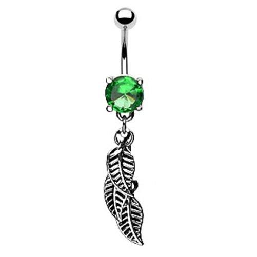Navel Ring w / Bg Green Gem & 3 Leaf Dangle