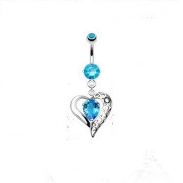 Vintage Heart w/Aqua Gems Navel Ring