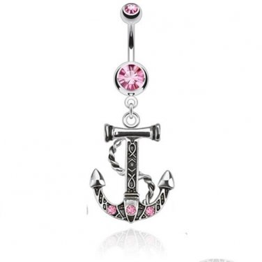 Anchor Dangle Navel Ring with Double Pink CZ Gems
