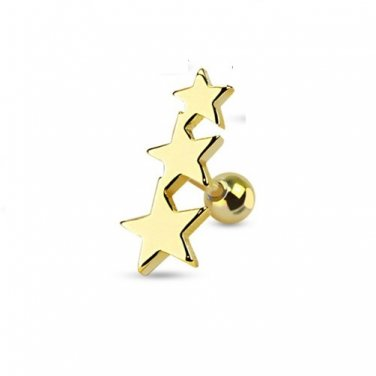 Three Gold Plated Stars Tragus/Cartilage Piercing Stud