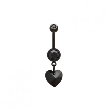 Black Heart Dangling Navel Ring