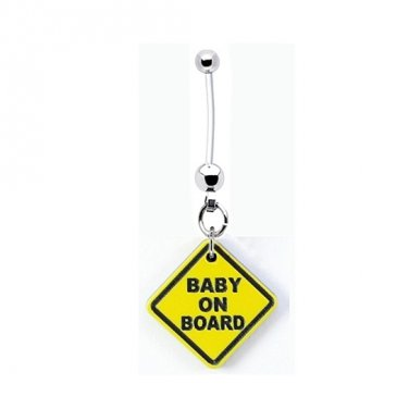 Baby On Board Yellow Pregnancy Belly Ring
