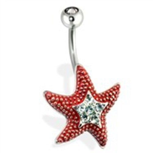 Steel Starfish with CZ Paved Center Navel Ring